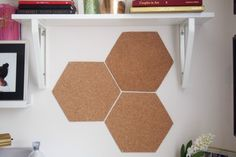 Empty hexagon cork-boards on the wall