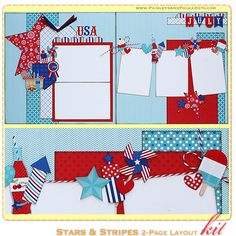 June 2013 PaisleysAndPolkaDots.com Stars & Stripes scrapbooking layout kit with instructions featured at www.scrapclubs.com