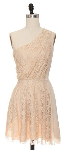 Nude One Shoulder Lace Dress