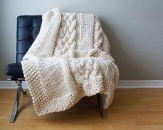 DIY Knitting PATTERN Throw Blanket / Rug Super Chunky door Midknits