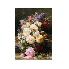 Still Life with Roses, Syringas and a Blue Tit on a Mossy Bank Giclee... (855 ARS) ❤ liked on Polyvore featuring home, home decor, wall art, artists, blue home accessories, giclee wall art, rose wall art, rose home decor and blue home decor