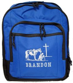 c10b580a9377 Cowboy at the Cross Backpack Book Bag - Personalized