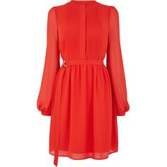 Warehouse Warehouse Chiffon Shirt Dress Size 6 ($66) ❤ liked on Polyvore featuring dresses, red sleeve dress, warehouse dresses, pleated chiffon dress, chiffon dresses and waist belt