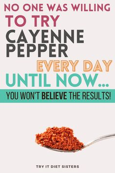 4 things about cayenne pepper that woll change your life. I took cayenne pepper every day for a year - benefits of cayenne. If you are looking for cayenne pepper benefits natural remedies, check out these cayenne pepper recipes and detox drinks. Stop getting sick and prevent heart attacks with cayenne pepper. For tips to use cayenne pepper, apple cider vinegar and lemon water, check out this post. See more at tryitdietsisters.com. Help Me Lose Weight, Diet Plans To Lose Weight Fast, Lose Weight At Home, How To Lose Weight Fast, Healthy Eating Habits, Healthy Lifestyle Tips, Healthy Tips, Cayenne Pepper Recipes, Cayenne Peppers