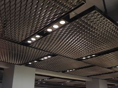 drop ceiling tiles painted with metallic aluminum paint Ceiling Tiles Painted, Drop Ceiling Tiles, Dropped Ceiling, Metal Ceiling, Office Ceiling, Architecture Design, Expanded Metal, Ceiling Light Design, Industrial Decor