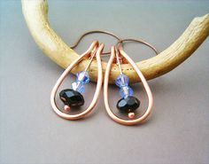 Wire Wrapped Earrings Copper with  Azure and Black by GearsFactory, €15.00