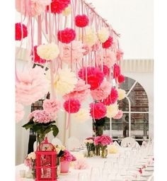Wissue pom wedding decor ideas. Wedding decoration Inspiration for Colourful Weddings. Compliment your table decorations with brightly coloured macarons from Looma's! Visit www.loomas.com.au/macarons #wedding #weddingideas #weddinginspiration