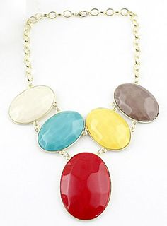 Multi Oval Gemstone Gold Chain Necklace.