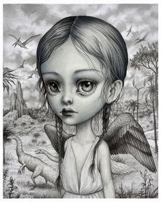 Sariel - edición limitada firmada numerados 8 x 10 los niños de la impresión de Bellas Artes de Nefilim por Mab Graves-sin marco