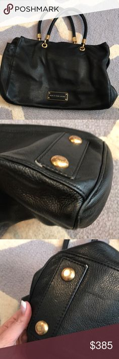 Marc Jacobs black bag Black leather bag Gold hardware Great everyday bag  Great condition  One of my favorites  Handles are in great shape Comes with duster bag Marc By Marc Jacobs Bags Shoulder Bags