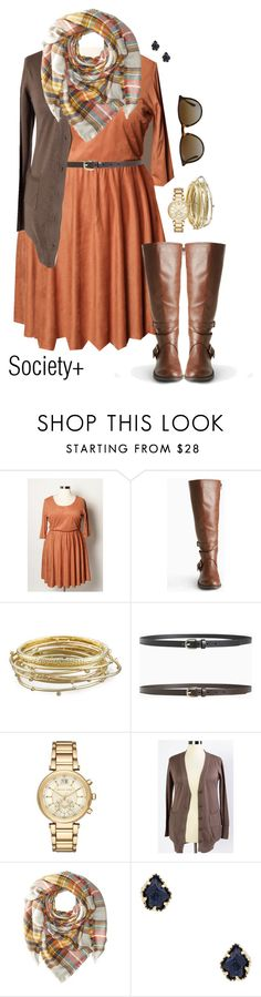 """Plus Size Rust Faux Suede Skater Dress - Society+"" by iamsocietyplus on Polyvore featuring Kendra Scott, Michael Kors, Hat Attack, Ray-Ban, plussize, societyplus and iamsocietyplus"