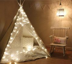 a white teepee reading nook, not sure about the twinkle lights, but maybe! Teepee Kids, Teepee Tent, Girls Teepee, Play Teepee, Dog Tent, Play Fort, Home Decor Instagram, Reading Tent, Reading Nooks
