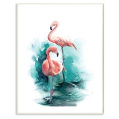 Stupell Decor Flamingo Duo Watercolor Texture Wall Plaque Art - AAP-109_WD_10X15