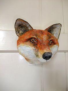 Papier-mâché fox head by Emily Warren