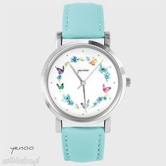 Zegarek, bransoletka - Kolorowy wianek - turkusowy, skórzany. $40