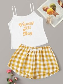 To find out about the Letter Graphic Cami & Plaid Shorts PJ Set at SHEIN, part of our latest Pajama Sets ready to shop online today! Cute Pajama Sets, Cute Pjs, Cute Pajamas, Pj Sets, Pajama Outfits, Pajama Shorts, Teen Fashion Outfits, Girl Outfits, Womens Fashion