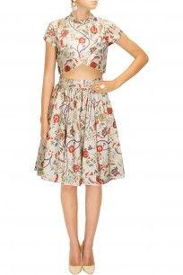 Stone giraffe print pleated skirt