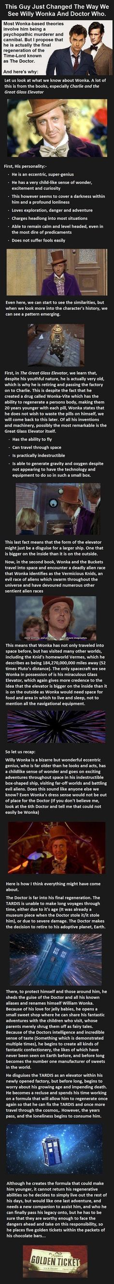 Willy Wonka / Doctor Who theory. Unfounded, of course, but very imaginative and smart! It's been years since I read 'The Great Glass Elevator,' but it is very Doctor Who, isn't it?