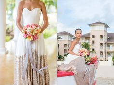 St. Lucia destination wedding beach elopement by Mikkel Paige Photography, at The Landings. Tropical bouquet with orchids and ginger snaps. Gown by Truvelle.