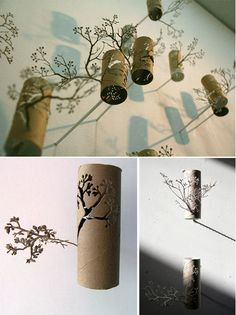 Humble Art - Toilet Paper Roll Art  Toilet Paper Roll Paper sculpture from Yuken Teryua [link]  The Japanese artist crafts toilet paper rolls with a level of detail so that they adopt a new identity as delicately sculpted pieces — reminiscent of columnar wind chimes intertwined in the branches of a tree.