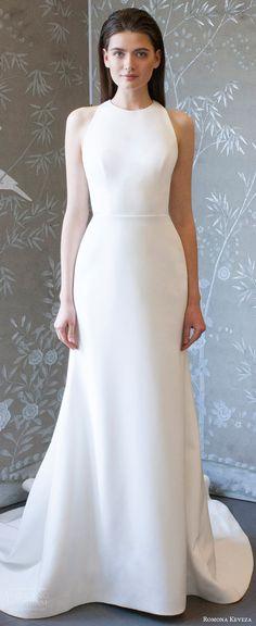 romona keveza spring 2018 bridal sleeveless jewel neck a line wedding dress (rk8403) mv clean modern sweep train -- Romona Keveza Collection Spring 2018 Wedding Dresses