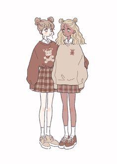 Arte Do Kawaii, Kawaii Art, Anime Kawaii, Cute Art Styles, Cartoon Art Styles, Art Drawings Sketches, Cute Drawings, Kleidung Design, Drawing Anime Clothes