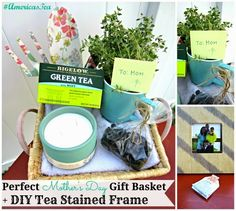 Perfect Mother's Day Gift Basket + DIY Tea Stained Frame with Bigelow Tea #AmericasTea #shop