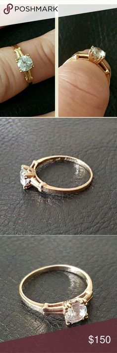 10k gold zircon ring Classic engagement style ring Jewelry Rings