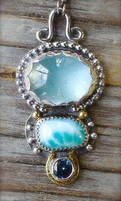 Three stone necklace in mixed metal - aquamarine, larimar and london blue topaz pendant.