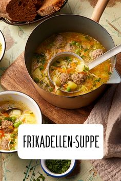 Frikadellen-Suppe - The most healthy and beautiful recipes Casserole Recipes, Pasta Recipes, Soup Recipes, Vegetarian Recipes, Snack Recipes, Healthy Recipes, Vegetable Soup Healthy, Vegetable Puree, Healthy Soup