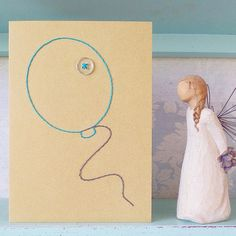 Hand Stitched Balloon Card by LilianAliceLtd on Etsy