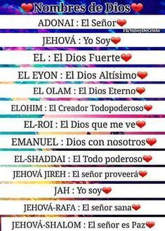 39 Ideas De Nombres De Dios Nombres De Dios Atributos De Dios Dios