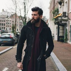 Look at handsome Franggy Yanez. Rocking that overcoat and beard. #beards #mensfashion