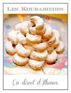 Κουραμππιέδες Comme promis, voila la deuxième recette que je présente pour le salon du blog culinaire, après les bouchées de fromage, les kourabiedes l'un des biscuits traditionnels de Noël en Grèce, au sucre glace, fleur d'oranger et amandes... Ingrédients...