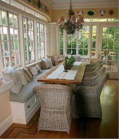 bench seating porch eating area Küchen Design, Design Case, Interior Design, Design Ideas, Design Inspiration, Room Inspiration, Vignette Design, Built In Bench, My Dream Home