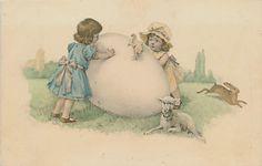 Easter Postcard Early Huge Egg Girls Chick Rabbit Lamb Vintage Postcard