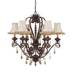 MOROCCAN 6  LIGHT CRYSTAL CHANDELIER WITH SHADES