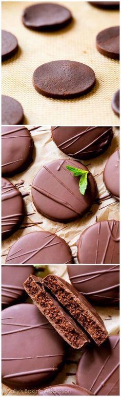 EASY crunchy copycat thin mint cookies made at home! Recipe on sallysbakingaddiction.com