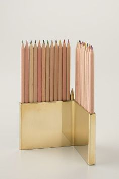 Colored Pencils With Brass Holder Set / Schoolhouse Electric...screw the colored pencils I want this for my eye/lip liners