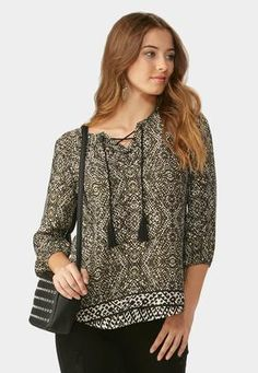 Cato Fashions Lace Up Neck Border Print Poet Top #CatoFashions