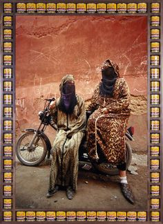Hassan Hajjaj photographs Moroccan biker women in his debut New York exhibition 'Kesh Angels' on display at the Taymour Grahne Gallery through March Afro Punk Fashion, Pop Art Fashion, Art Pop, Andy Warhol, Kitsch, Rock The Casbah, Arabic Art, Arabic Design, Lady Biker