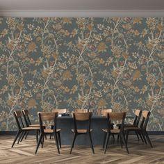 Wallpaper Free, Brown Wallpaper, Bird Wallpaper, Wallpaper Online, Print Wallpaper, Wallpaper Designs, Magnolia Wallpaper, Gp&j Baker, Emerald Blue