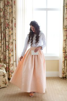 Beautiful modest white ruffle top and long peach maxi skirt. Modest fashion and bridesmaid dresses, ruffles and lace. www.daintyjewells.com