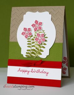 iheartstamping.com - Petite Petals Birthday Card featuring Old Olive, Real Red and Crumb Cake. #GDP013
