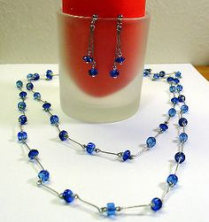 Opera-Length Wire Necklace and Earring Set | AllFreeJewelryMaking.com