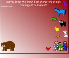 Brown bear Brown bear math activity Measurement Algebra Concepts (sorting) Reasoning and Proof Representation Communications Preschool Math, Literacy Activities, Math Literature, Bear Character, Kindergarten Books, Activities For Boys, Bear Theme, Early Math, Eric Carle