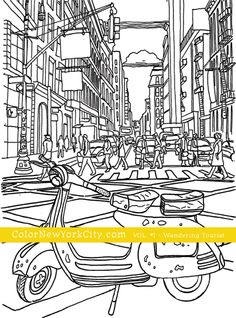 Scooter On A Busy NYC Street Vespa Coloring Page From The Book