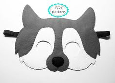 PDF PATTERN: Wolf felt mask sewing tutorial - Black Grey White - DIY animal costume- for boys girls adults Dress Up play Halloween accessory