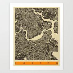 Boston Map Art Print by Jazzberry Blue - $19.00