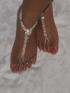 barefoot sandals | Bridal Barefoot sandals Dazzling Foot jewelry Anklet Ab Crystals ...